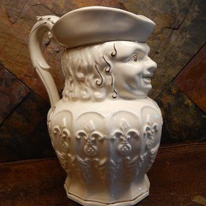 Vintage  White & Gold Toby Solider Pitcher